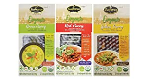 Sutharos ORGANIC Thai Curry Meal Kits (3 Pack) VEGAN, GLUTEN FREE, Imported from Thailand, Easy to Cook, Comes with Coconut Milk, Green Curry, Red Curry, and Yellow Curry Paste, Herbs (Curry Sampler)