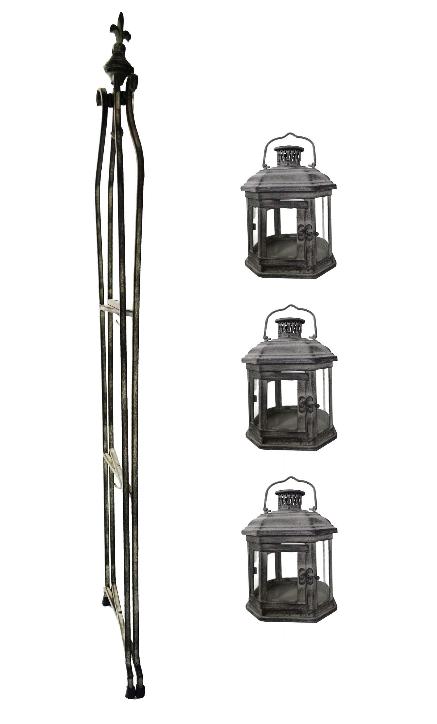 PierSurplus Metal Candle Lanterns with Stand - Three-Tier Lantern Stand for Yard Product SKU: CL221880 by PierSurplus (Image #5)