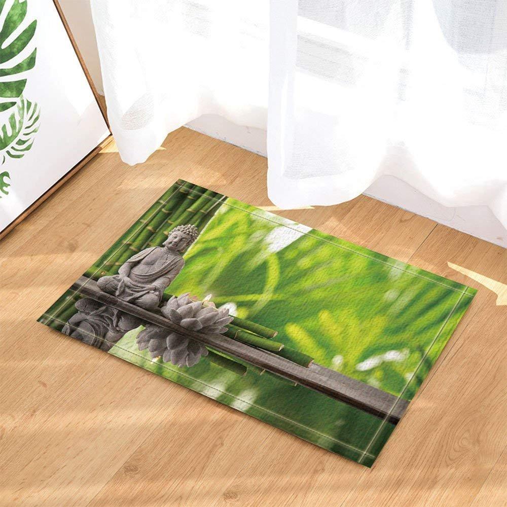 Spa Decor Japanese Style Bamboo Lotus Candle Yoga Bath Rugs Non-Slip Doormat Floor Entryways Indoor Front Door Mat Kids Mat 15.7x23.6in Bathroom Accessories