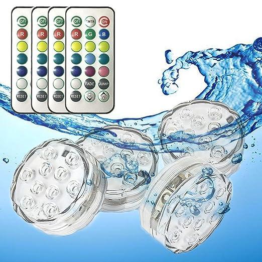 Sumergible Luz LED con Control remoto, Multicolor Impermeable Luz subacuática para Acuario, base de