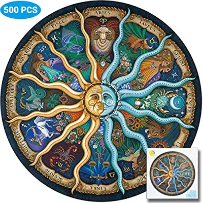 Cogihome Jigsaw Puzzle, 500 Piece Round Jigsaw Puzzle DIY Constellation Circular Jigsaw Puzzles Game for Kids Adult: Toys & Games