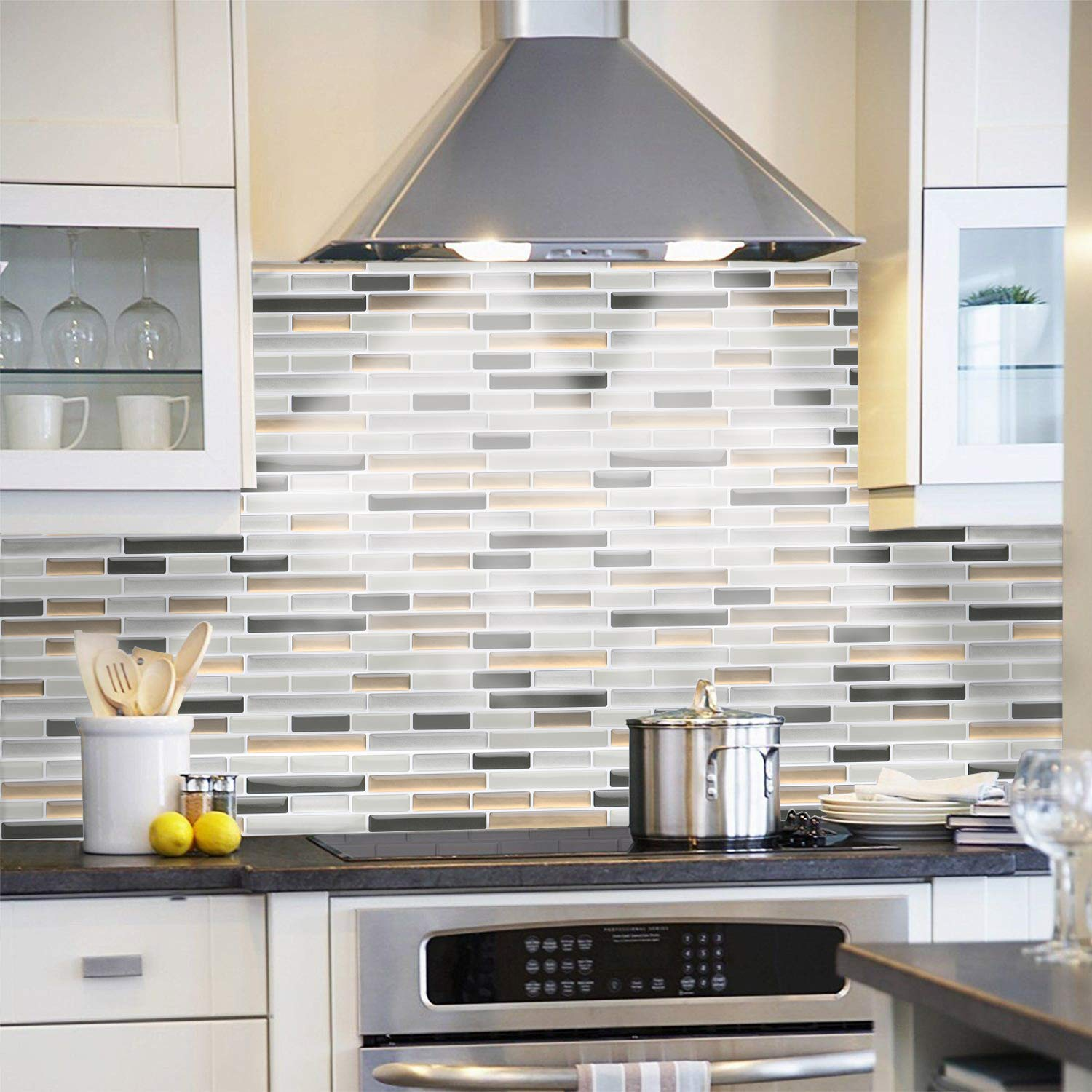 Peel and Stick Tile Backsplash for Kitchen Bathroom, Stick on Wall ...