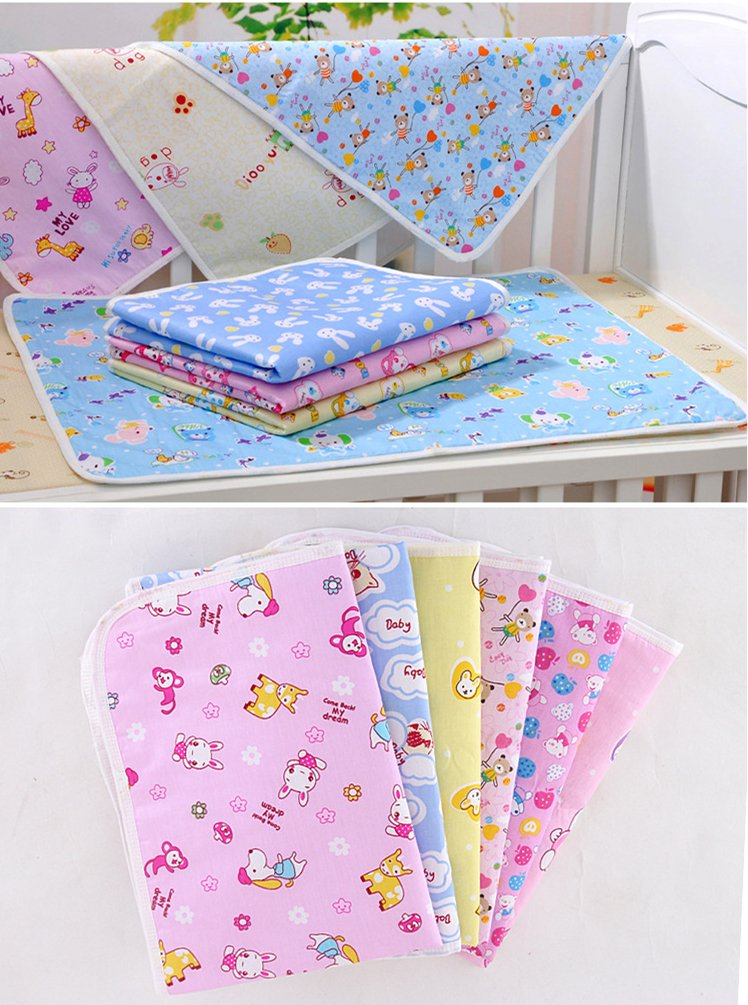 1Pc 70 * 50cm/27.5 * 19.7inch Cotton Cloth Waterproof Cartoon Reusable Baby Infant Urinal Pad Cover/mat/Mattress Pad(Large Size) Diaper Changing Table Pads Idepet