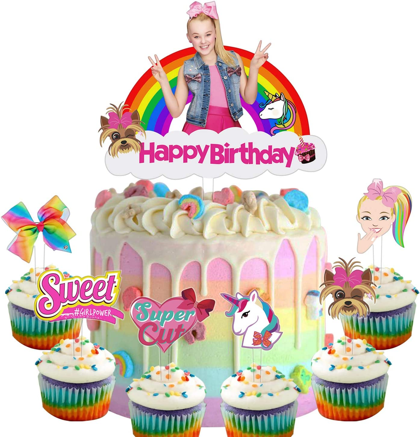 24 Jojo Cupcake Toppers Set Unicorn Bow Cake Birthday Party Decoration Toppers