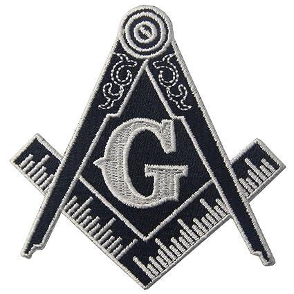 Masonic Logo Emblem Embroidered Freemason Iron On Sew On Patch - White &  Black