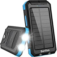 Solar Charger, Benfiss 20000mAh Solar Power Bank, Waterproof Portable External Backup Battery with 2 LED Light,Carabiner…