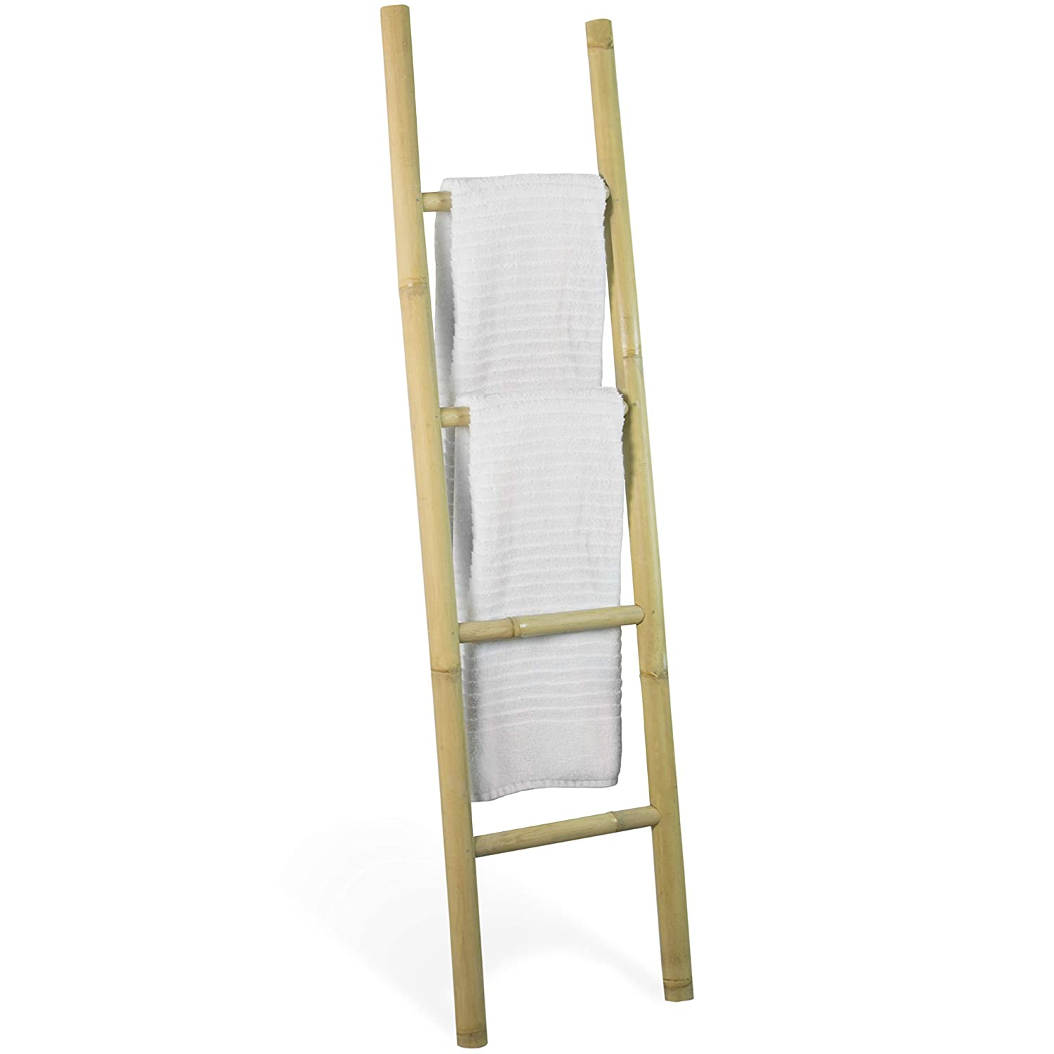 Decorative 5 Foot Natural Beige Bamboo Wall Leaning Towel Ladder Rack Made In Indonesia