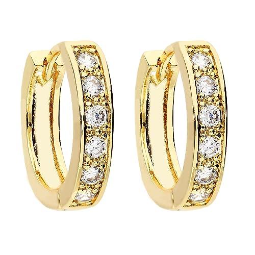 Pendientes de aro MYA art de oro, chapado en oro con piedras ...