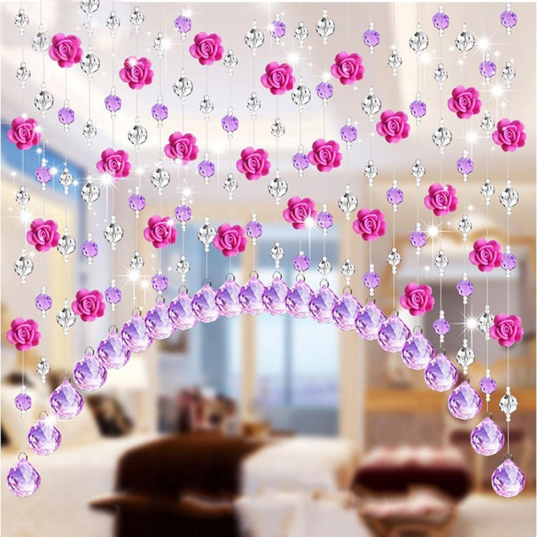 Coohole Crystal Glass Rose Bead Curtain Living Room Bedroom Window Door Wedding Home Decor (C, With Pendants)