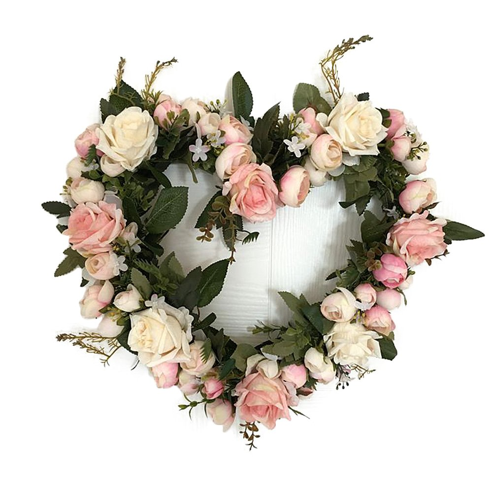 Adeeing Vintage Art Simulation Rose Flowers Wreath Pink Heart-shaped Garland for Home Wedding Decoration