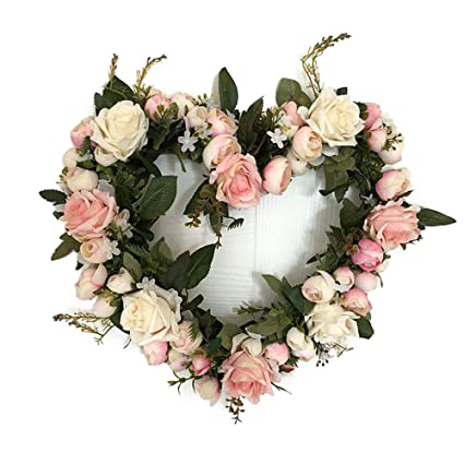 Amazon adeeing vintage art simulation rose flowers wreath pink adeeing vintage art simulation rose flowers wreath pink heart shaped garland for home wedding decoration mightylinksfo