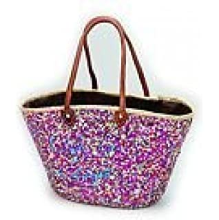 Amazon.com: Stella Sequin French Market Basket / Beach Bag (Gold ...
