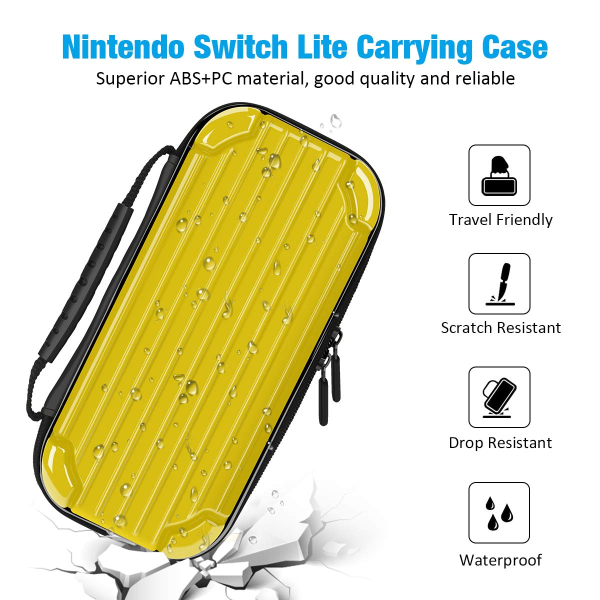 Carrying Case for Nintendo Switch Lite, Y Team Switch Lite Case with 10 Game Cartridge Storage Holders and 1 Tempered Screen Protector for Nintendo Switch Lite Console and Accessories (Yellow)
