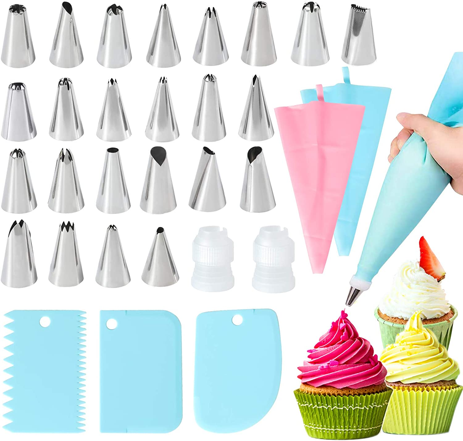 pastry bags-Flower Frosting Tips-Large Cupcake Decorating 63 Cake Decorating Tools sets-Icing Piping Tips YEHUA Piping bags and tips Cake Decorating Supplies Multi-functional Baking Supplies Set