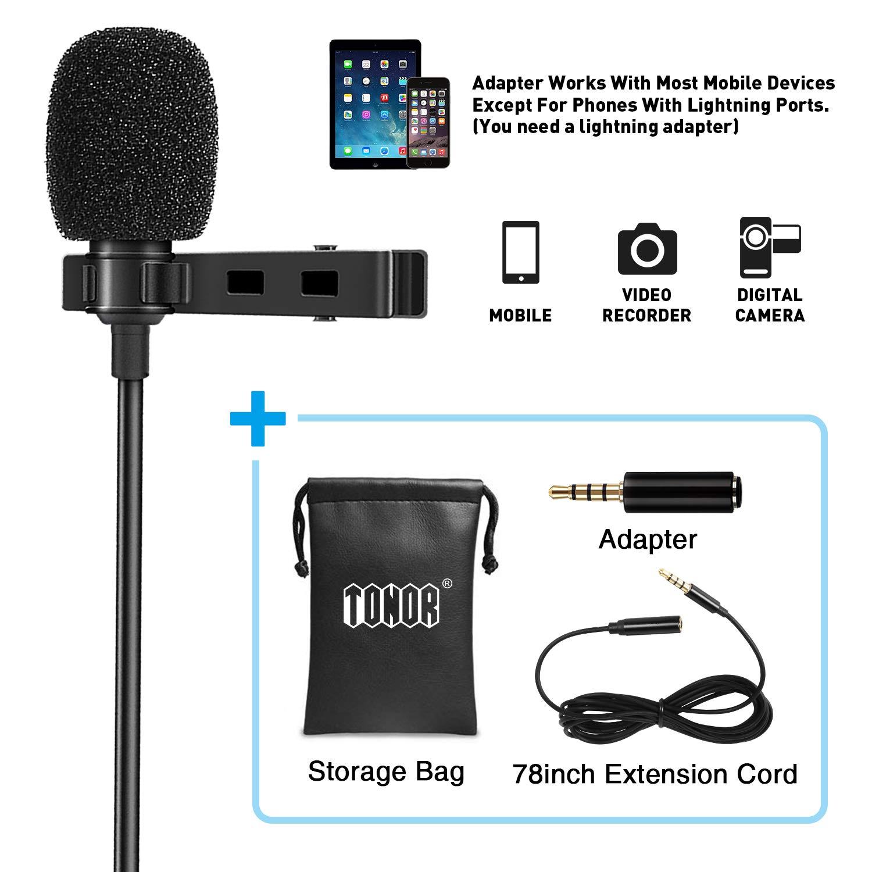 Tonor Microfono Multidirezionale Lavalier con Risvolto e Sistema Easy Clip On per iPhone, Android ed Altri Dispositivi: Perfetto per Youtube, Interviste, Studio, Registrazione di Video e Podcast, con Sistema di Riduzione del Rumore