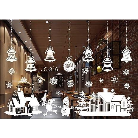 christmas window decorations santa claus deer snowman snowflakes bells christmas decals new year ornaments - Christmas Window Decorations Amazon