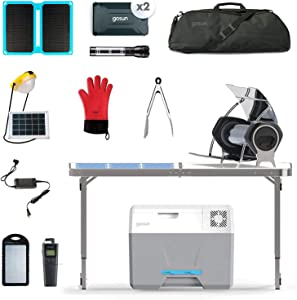 GOSUN Solar Kitchen Ultimate Prep Kit | Portable Foldable Solar Table/Hybrid Electric & Solar Oven/Iceless Solar Cooler/Solar Power Panel & Battery Chargers/Cooking Utensils & Cookware Package