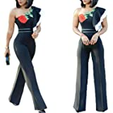 FJ-Direct Women Ruffle Rose Embroidery Sexy One Shoulder Party Jumpsuits Overalls