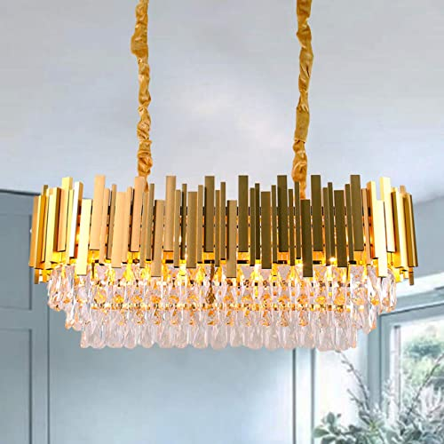 Luxury Crystal Pendant Light,Oval Crystal Chandelier 3 Tiers Raindrop Crystals Flush Mount Ceiling Light Fixture