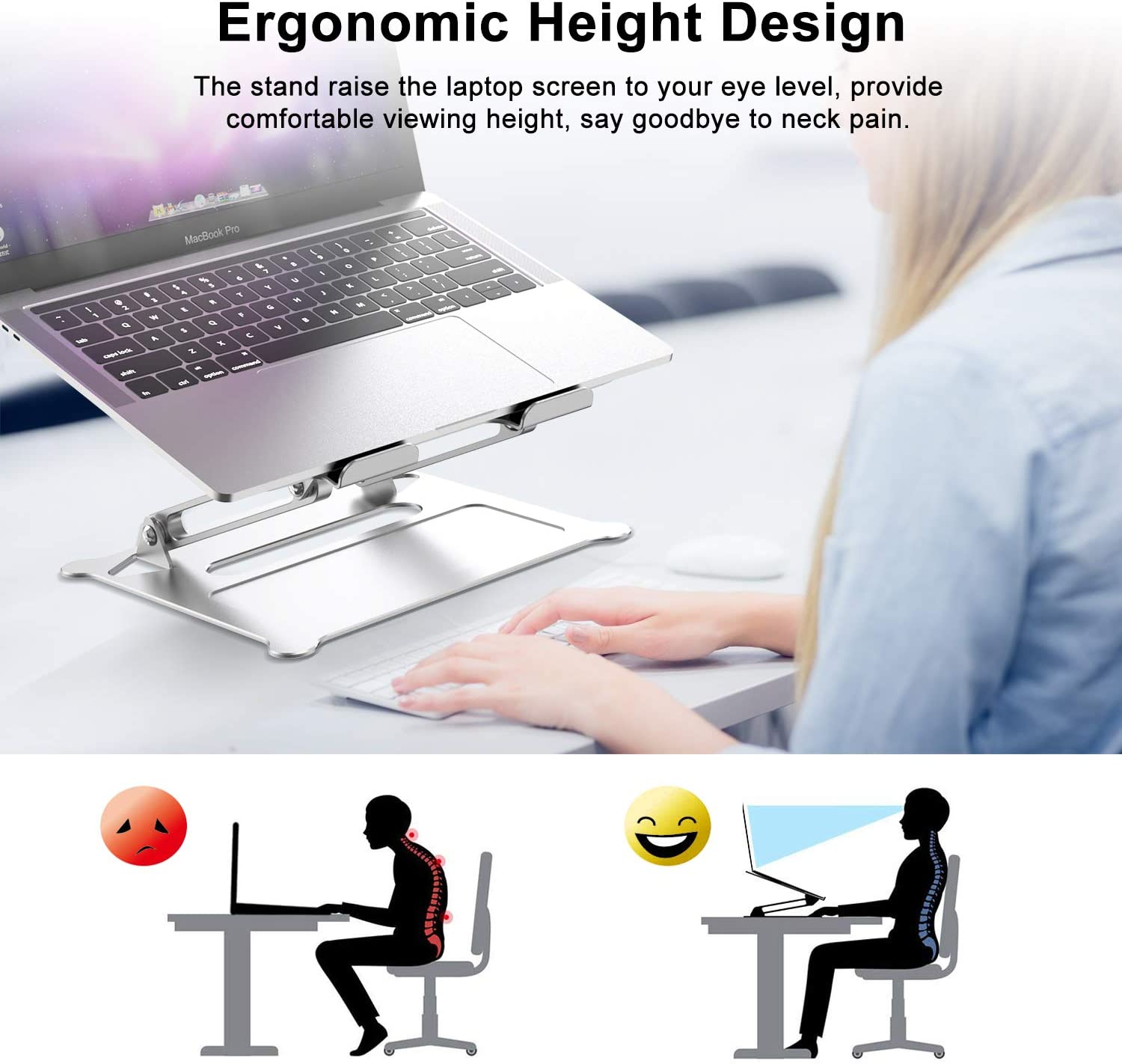 HP Surface Ergonomic Multi-Angle Holder Riser with Heat-Vent Lenovo and More 10-17.3 Notebooks Compatible with MacBook Pro//Air Laptop Stand Dell Adjustable Aluminum Desk Stand