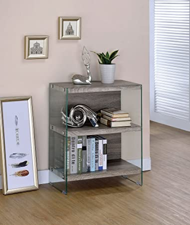 Las Palmas Gray Wood Glass Bookshelf By Furniture Of America
