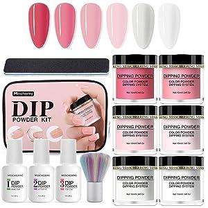 Dip Powder Kit for Starter, 6 Colors Dipping Powder Starter Nail Set Acrylic Powder Dip Nail Kit for French Nail Manicure Nail Art Set, No UV/LED Lamp Needed at Home Nail Dip Kit