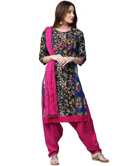 ffa2bd2065 Jaipur Kurti Women's Cotton Straight Salwar Suit Set (JKPTD3165-S_Brown &  Pink_Small)