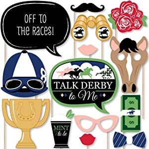 Big Dot of Happiness Kentucky Horse Derby - Horse Race Party Photo Booth Props Kit - 20 Count