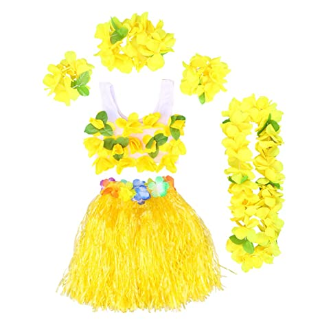 2d1a79651 BESTOYARD Conjunto de Disfraces de Hula Hawaiana para Niños con Pulseras  Diadema de Flor Falda Amarilla