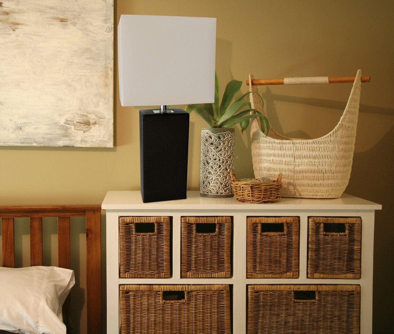 elegant designs lt1025blk modern genuine leather table lamp black amazoncom - Bedroom Table Lamps