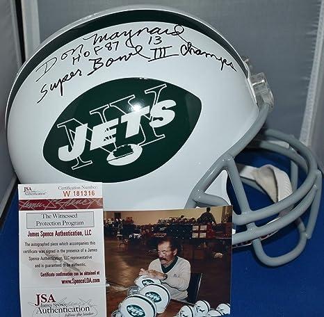 Amazon.com  Don Maynard Autographed Signed Full Size Replica Tb Helmet New  York Jets Hof 87 Sb Iii JSA  Sports Collectibles bdacdd126