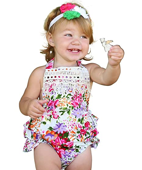 43bb7c16ef5 Noah s Boytique Baby Girls Vintage Inspired Summer Bright Colorful Floral  Romper with Ruffle Bottoms and Halter