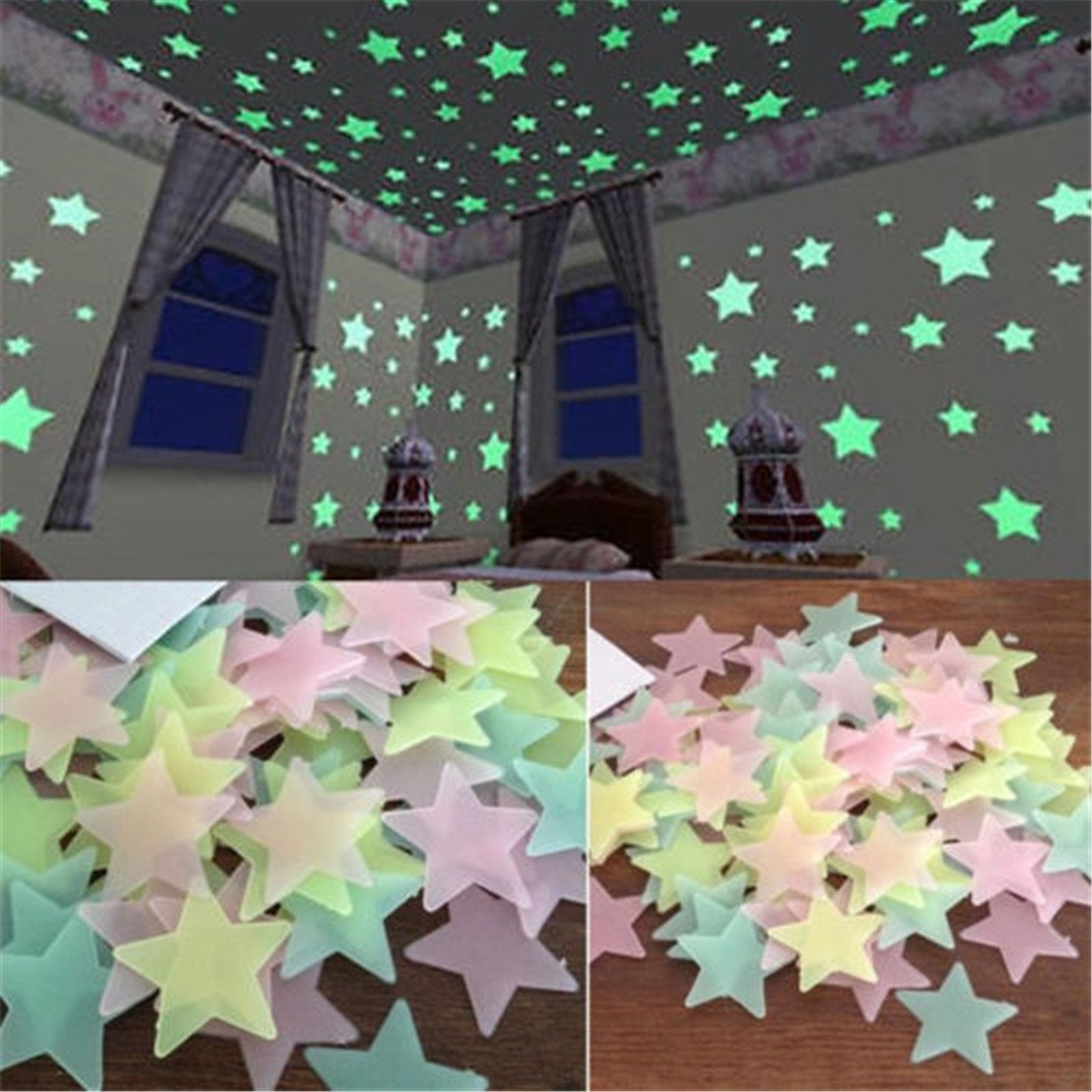 GUAngqi 100pcs Wall Glow In The Dark Star Stickers Decal In Kids Room