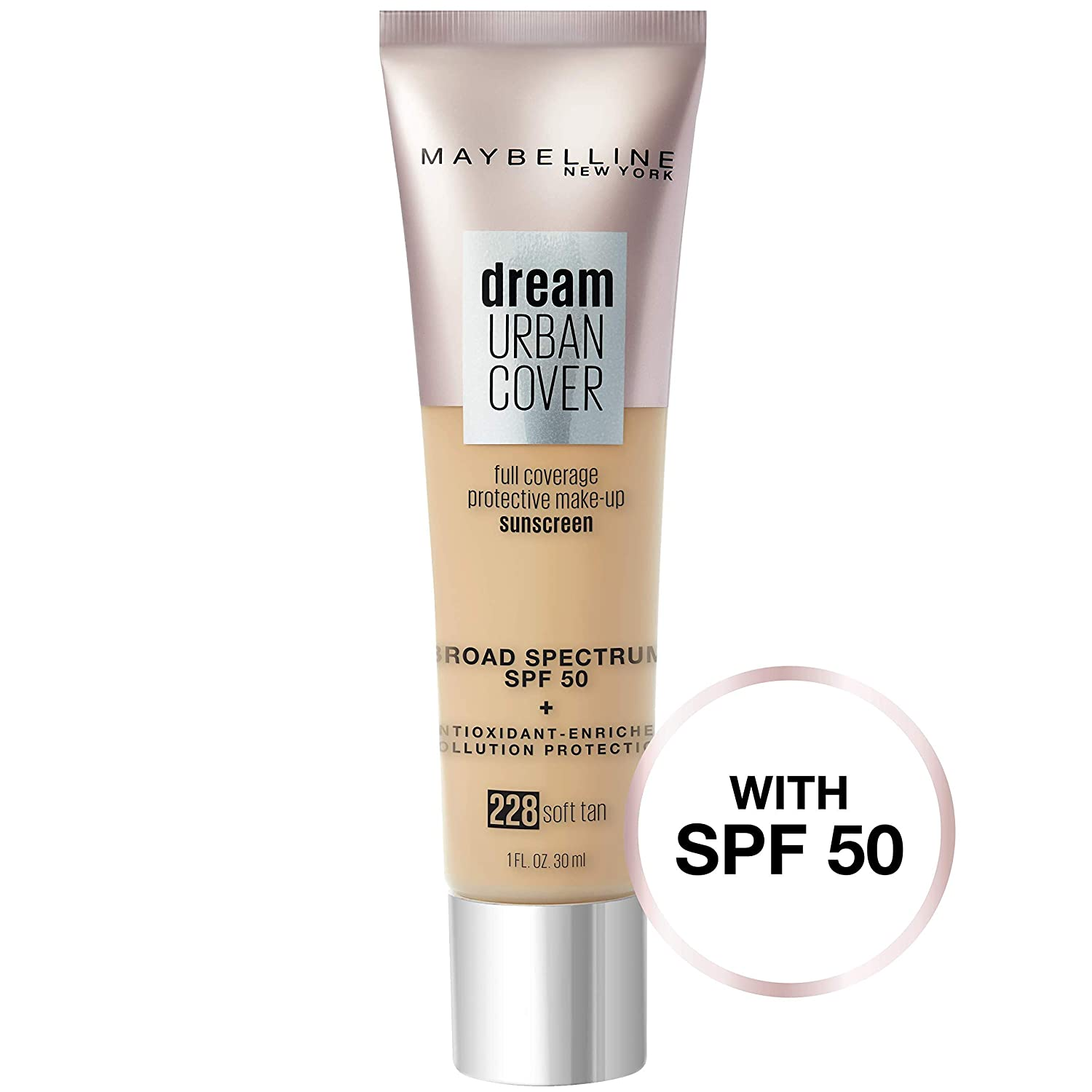 Maybelline Dream Urban Cover Flawless Coverage Foundation Makeup, SPF 50, Soft Tan