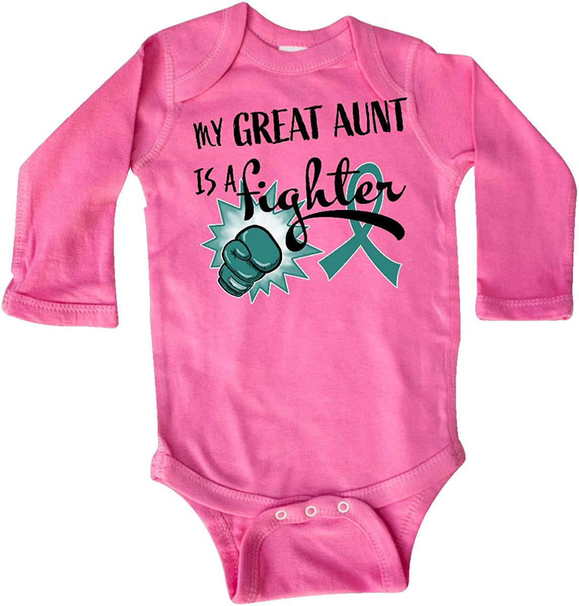 inktastic Ovarian Cancer Awareness My Great Aunt is a Long Sleeve Creeper