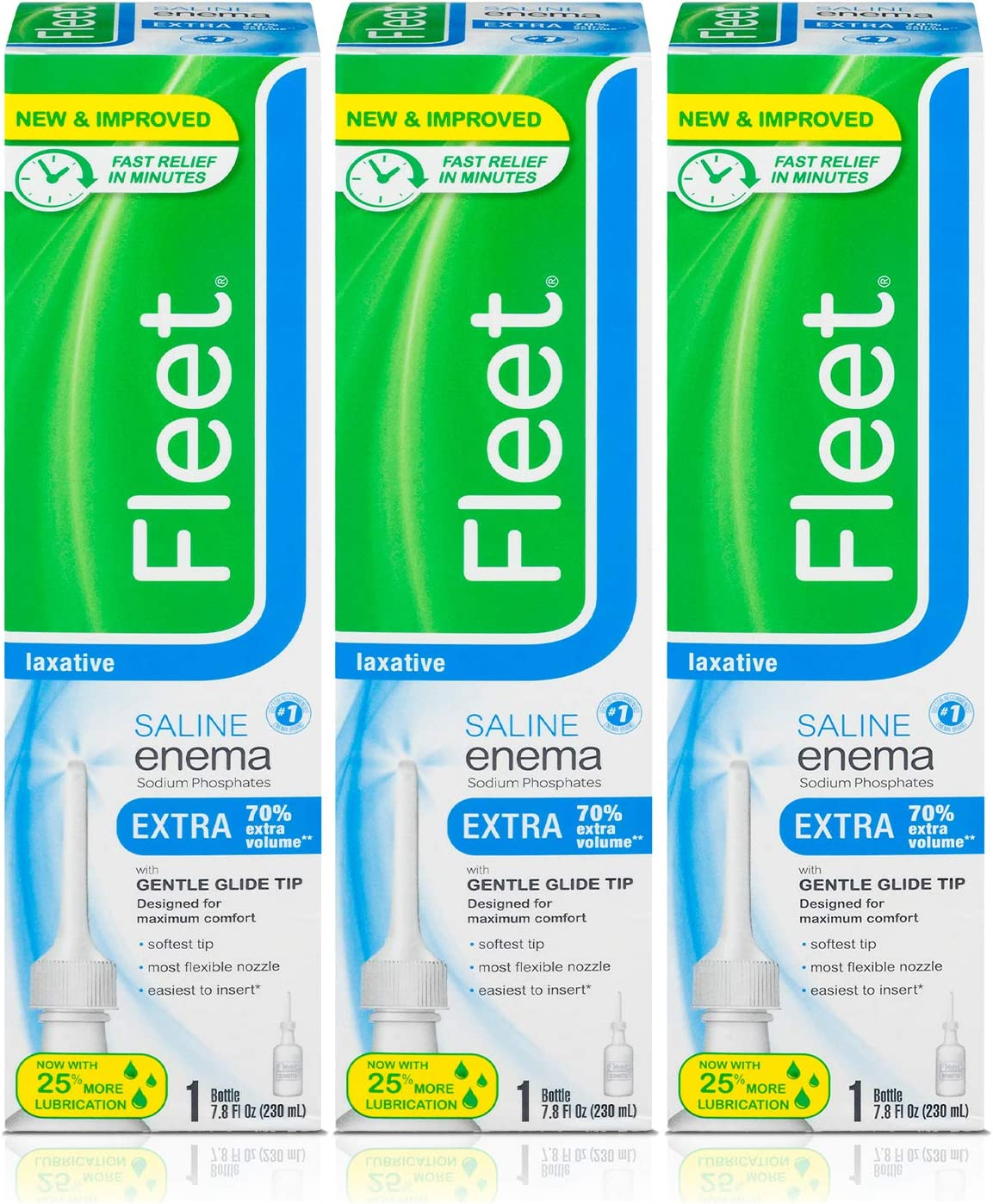 Fleet Laxative Saline Extra Enema for Adult Constipation, 7.8 fl oz, 3 Pack: Health & Personal Care