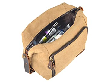 3c21eda25712 Amazon.com   Genuine Leather Canvas Travel Toiletry Bag Shaving Dopp Kit  Bags Shower Wash Bag Grooming Kit for Gym