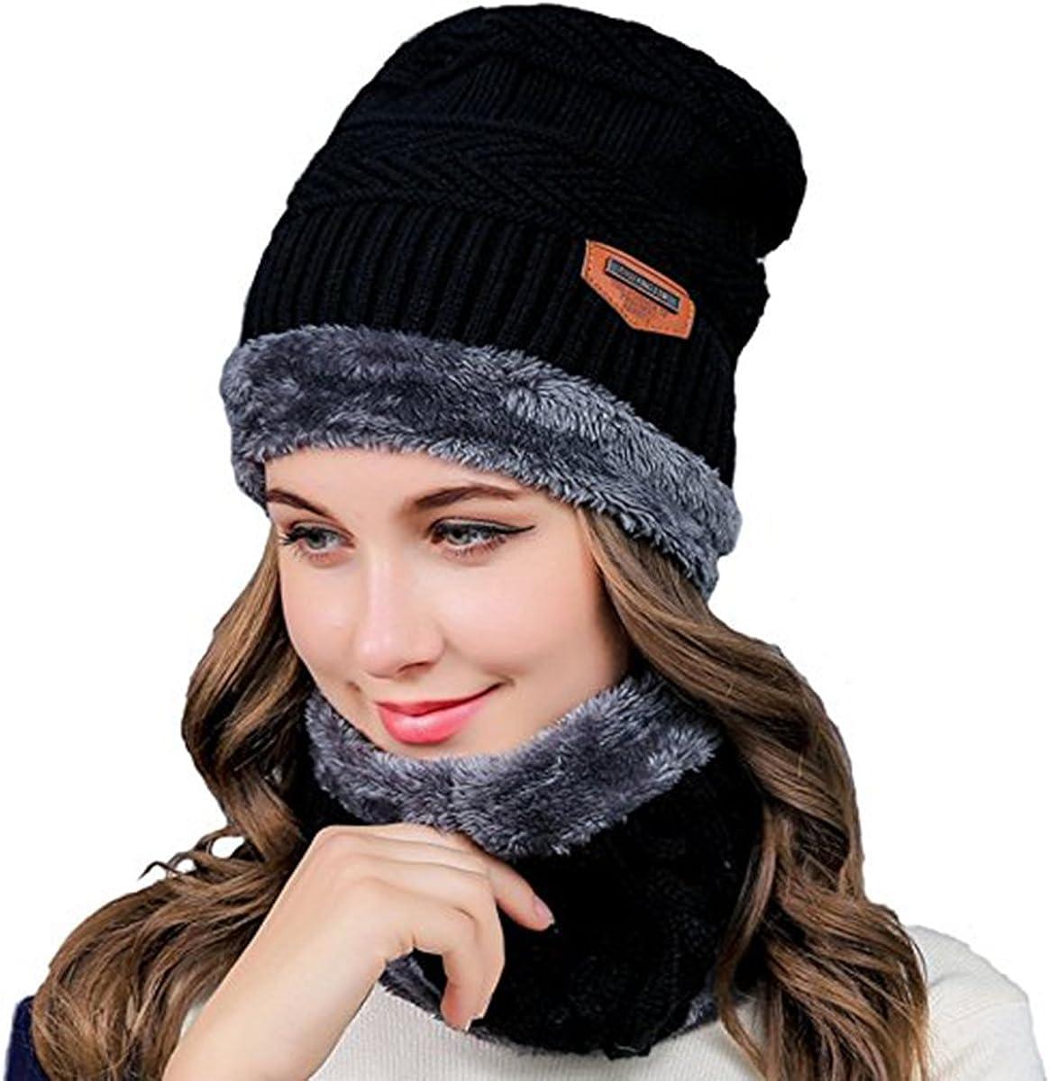 Set Beanie-Mütze Wintermütze Loop Schal GLITZERHASE 48-50 Jersey Fleece