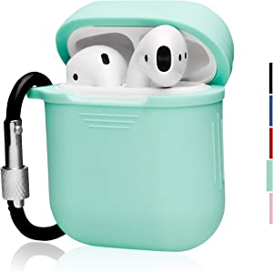 The OAKS Improved Airpod Case Protective Cover Skin with Lockable Carabiner and Airpod Strap Compatible with Airpod Charger Case (5 Colours Available) (Mint)