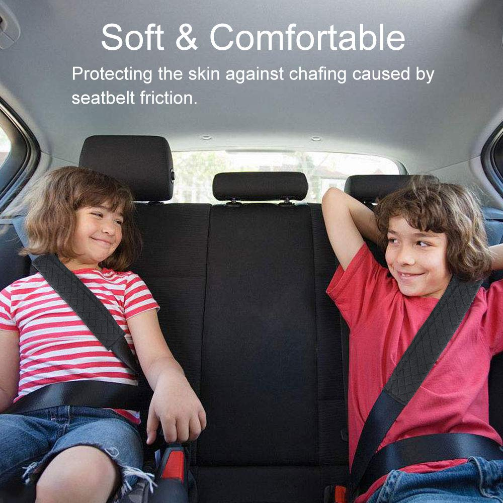 Black BUZIFU 2pcs Seat Belt Harness Pads,Soft Safety Car Seat Belt Covers for Adults and Children Suitable for Car Seat Belt//Backpack//Shoulder Bag