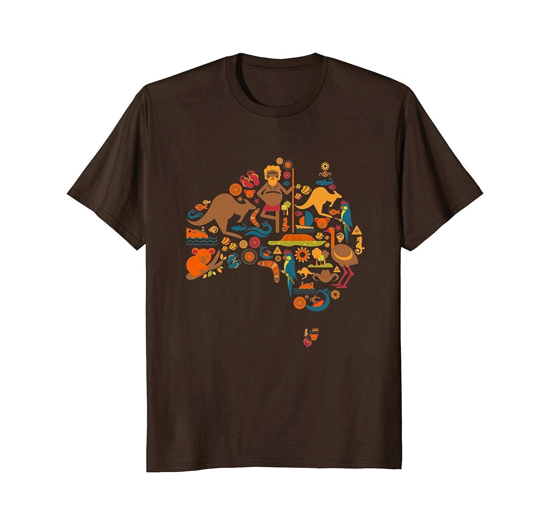 Australia T-Shirt Australian Elements Fun Map Graphic Tee-AZP
