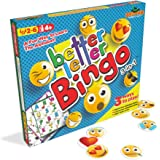 Better Letter Bingo 3-in-1 Preschool Game with Fun Emoji Bingo Chips ~ Play Both Upper and Lowercase Alphabet Bingo or Use as ABC Flash Cards ~ 2 to 6 Players