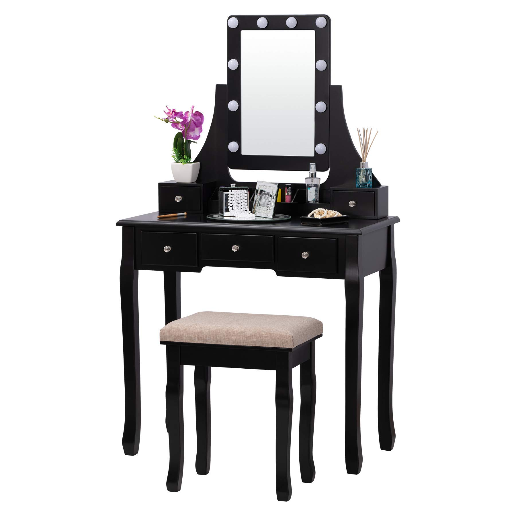 Fineboard FB-VT32-BK LED Lights Vanity Table Set with Stool and Mirror with 5 Drawers, Black