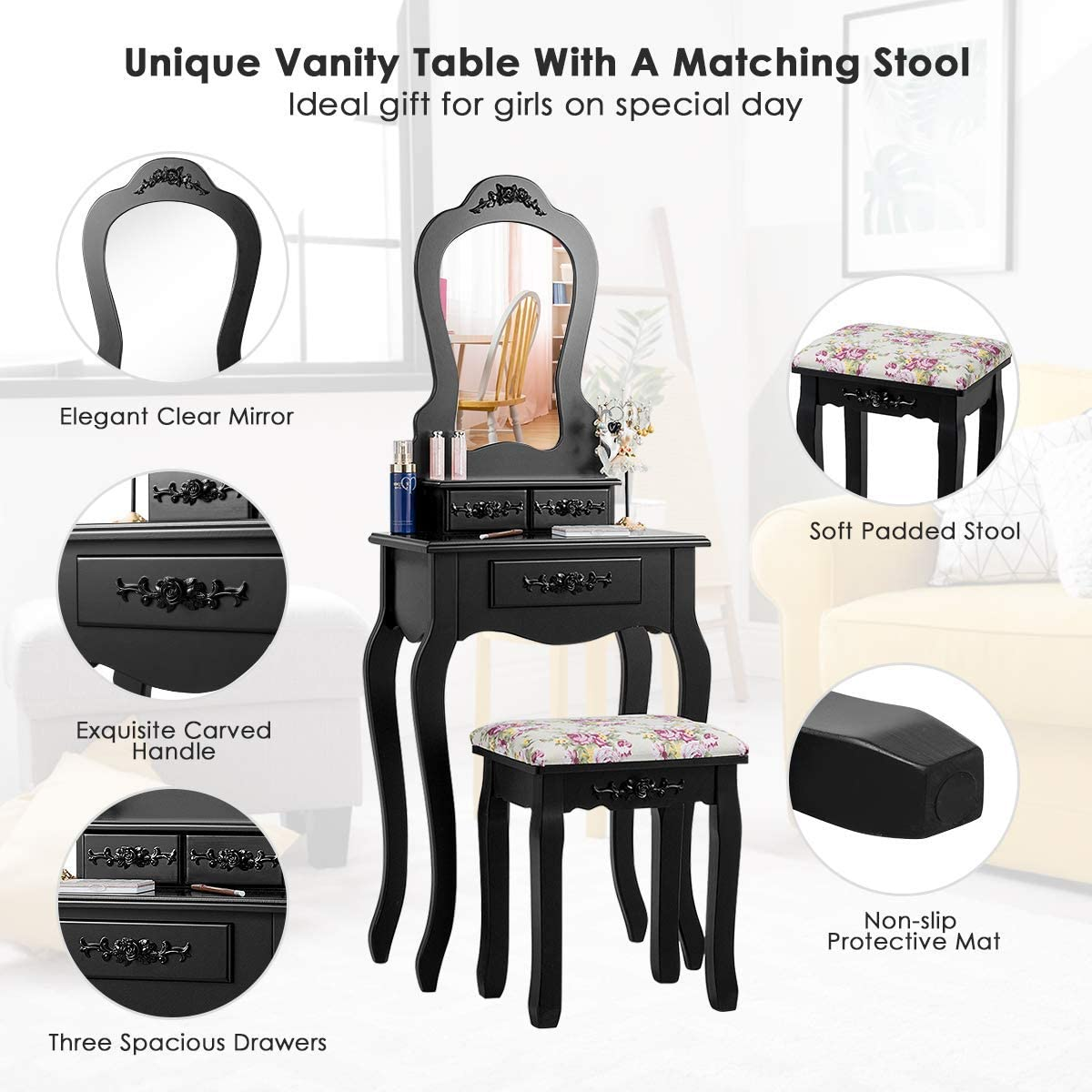 SPSUPE Vanity Set with Stool Mirror, Multifunction Makeup Writing Desk with Drawers, Fan-Shaped Mirror Cushioned Stool, for Home Bedroom Contemporary Dressing Table, White, Black