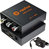 Rasfox Powered AV / RCA to HDMI Converter, Composite 3RCA Audio Video A/V CVBS to HDMI Adapter Converter Box with Power Adapter,Upscaler 1080P 720P. High-End Metal Box With 1 Year Warranty