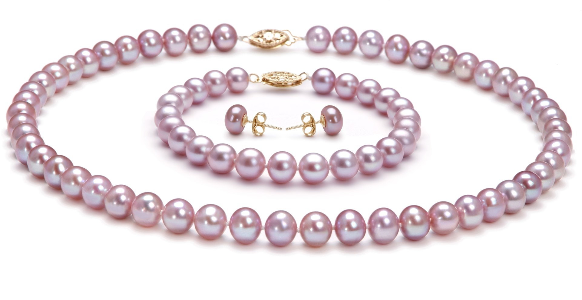 PearlsOnly - Lavender 7-8mm AA Quality Freshwater Cultured Pearl Set-16 in Chocker length