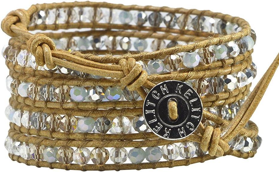 Wrap bracelet 5*Auswahl ~ sliding pearl ~ ornamental carabiner ~ leather jewelry