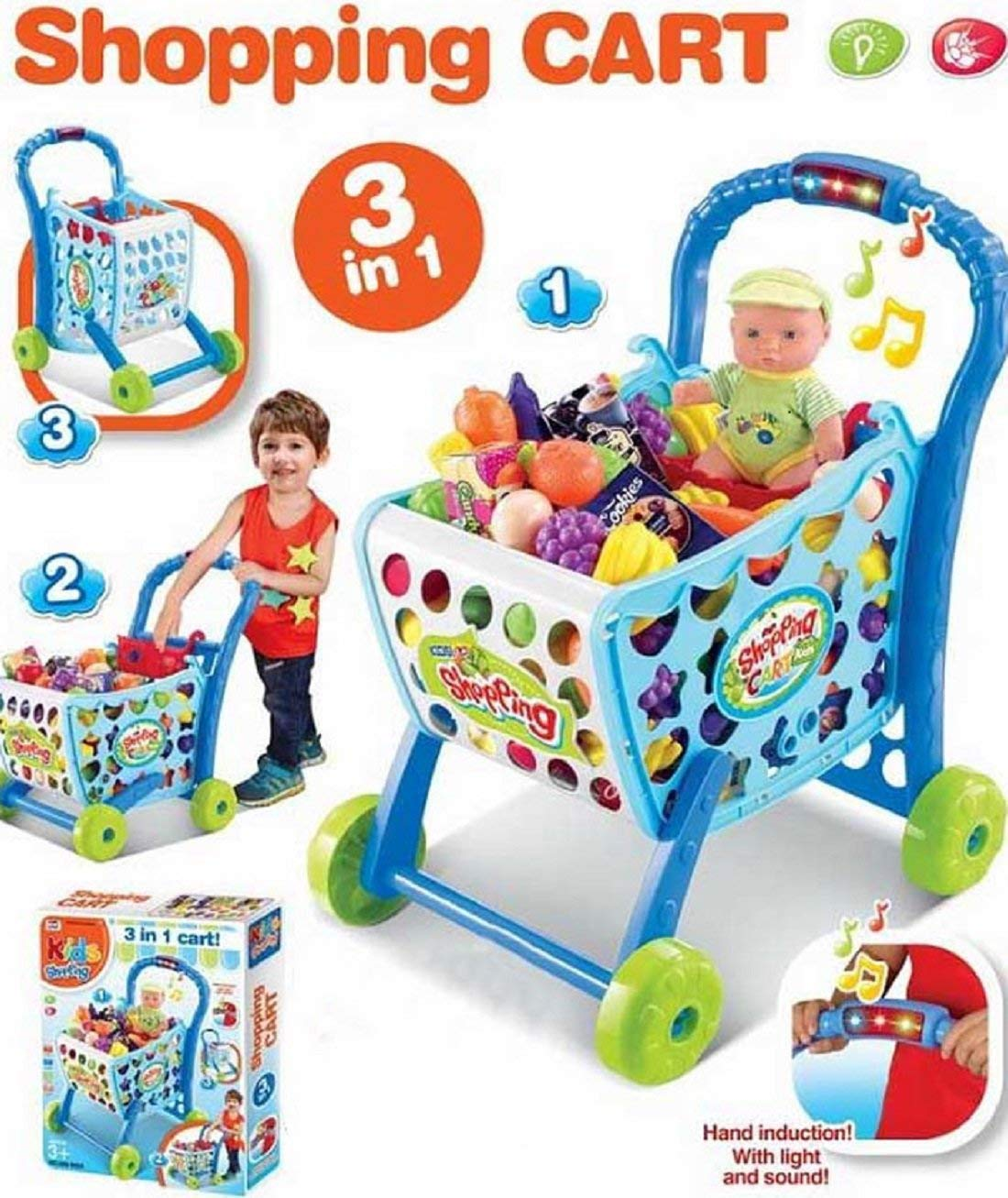 f0858b8ce07a3 Buy TALREJA ENTERPRISES Light and Music Supermarket Shopping Cart Pretend  Play Toy Trolley with Full Grocery Food for Kids (Blue) Online at Low  Prices in ...