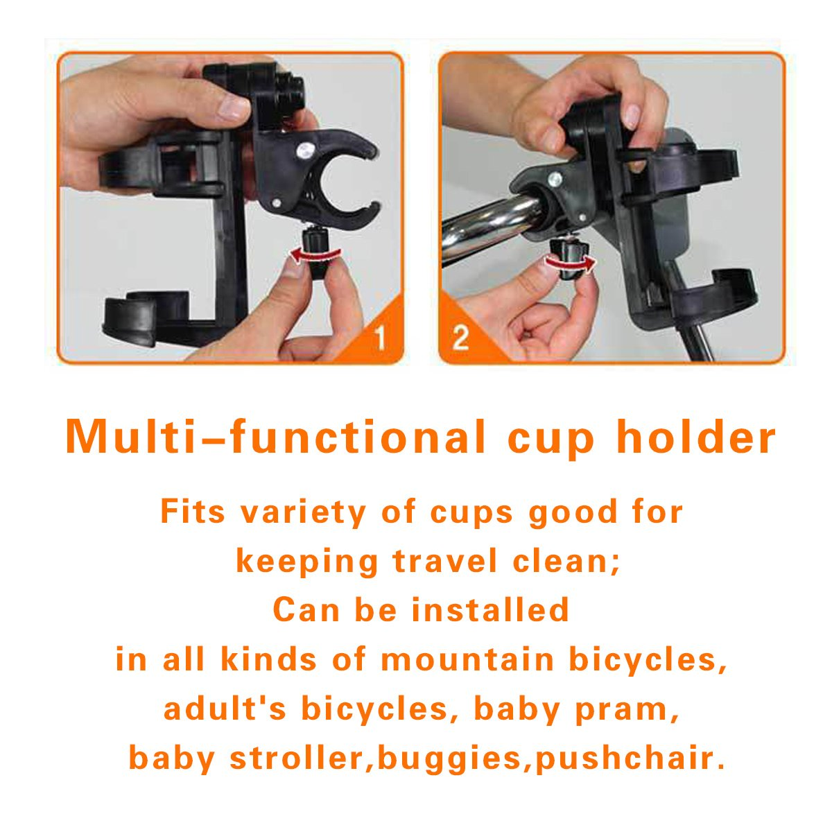 /-- Soporte ajustable de abrazadera de rastrillo de botella de leche bebida taza mango rotaci/ón de 360//° UNIVERSAL para carrito de beb/é//cochecito//bicicleta//bicicleta Adesugata Baby Stroller Cup Holder/