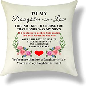 Sazuwu Daughter in Law Gift from Mother in Law Pillowcase Cotton Linen Bonus Daughter Gift Wedding Day Gift Throw Pillow Cover Home Decor Sofa Cushion Cover Christmas Birthday 18